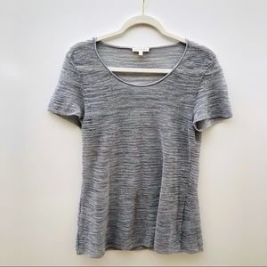 Eileen Fisher Gray Italian Knit Short Sleeve Tee S